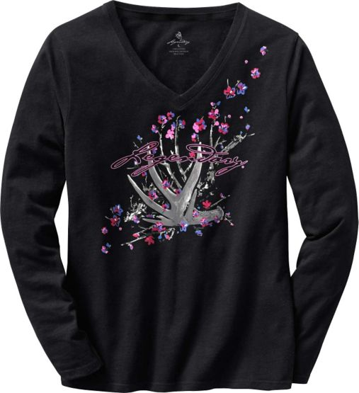 Women's Floral Shed Black V-Neck T-Shirt at Legendary Whitetails