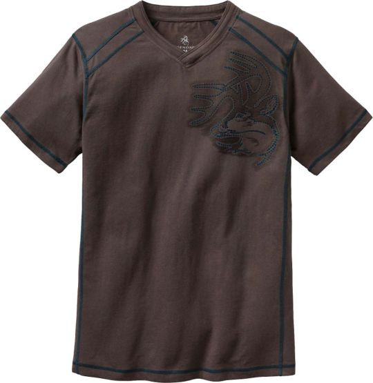 Men's Timber Track V-Neck Signature Buck T-Shirt at Legendary Whitetails
