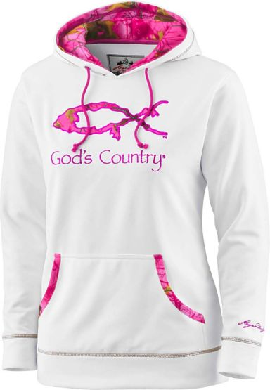Ladies God's Squad Pink Camo Performance Hoodie at Legendary Whitetails