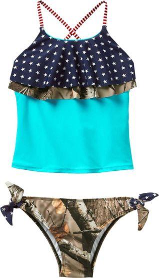 Girls Americana Big Game Camo Swimsuit at Legendary Whitetails