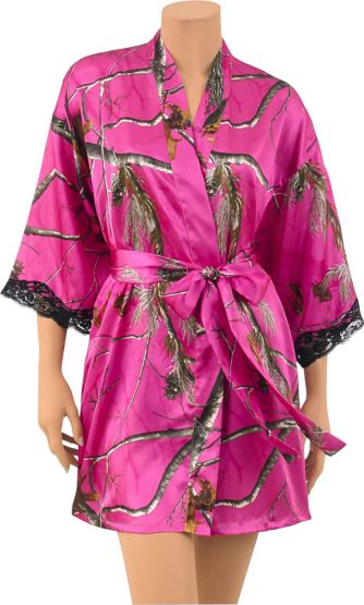 Women's Lace Trimmed Camo Kimono Robe at Legendary Whitetails