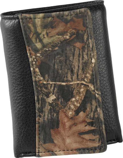 Men's Mossy Oak Black Leather Trifold Wallet at Legendary Whitetails