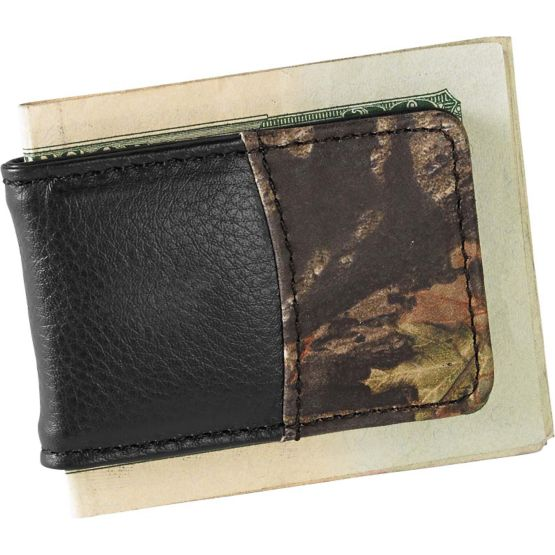 Men's Mossy Oak Black Leather Money Clip at Legendary Whitetails