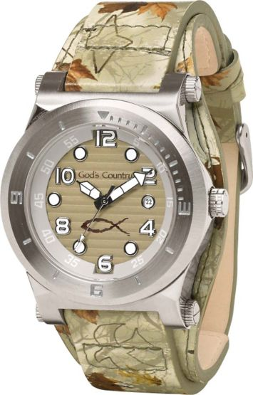 Women's God's Country Camo Journey Leather Watch at Legendary Whitetails