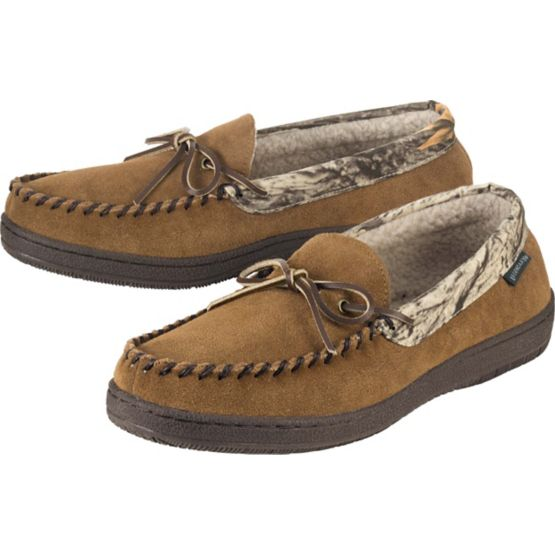 Men's God's Country Camo Pioneer Suede Moccasins at Legendary Whitetails