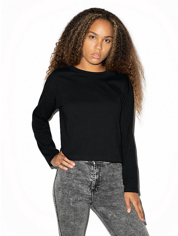 Fine Jersey Long Sleeve Boxy Crop Top