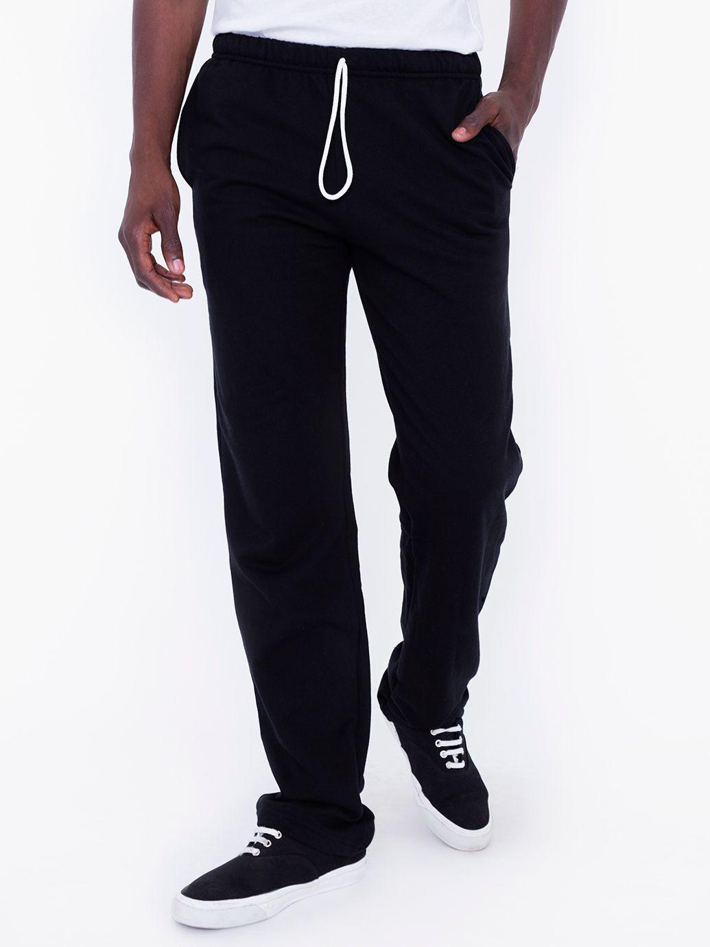 American Apparel Mens California Fleece Slim Fit Pants in Black, White, or Navy