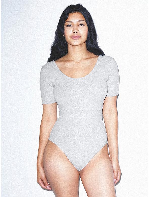 Cotton Spandex Short Sleeve Scoop Back Bodysuit