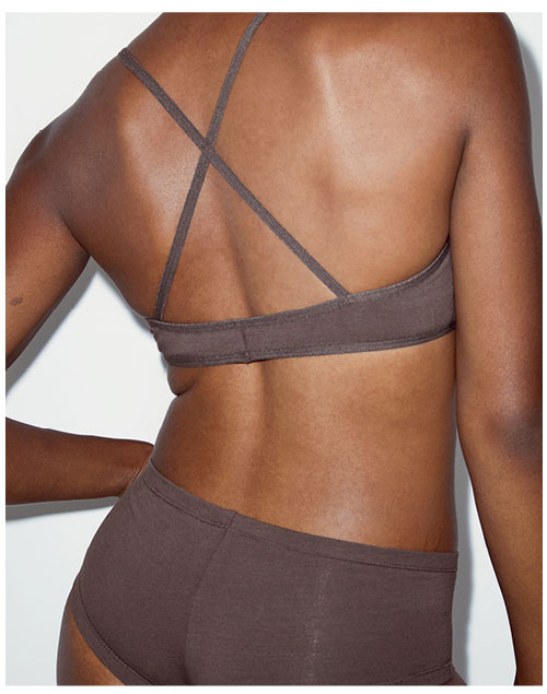 Back of Cheyann Nude 1 Cotton Spandex Jersey Crossback Bra / Cotton Spandex Jersey Hot Short