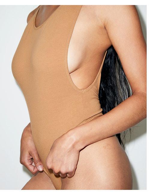 Nude 5 Cotton Spandex Deep Cut Bodysuit