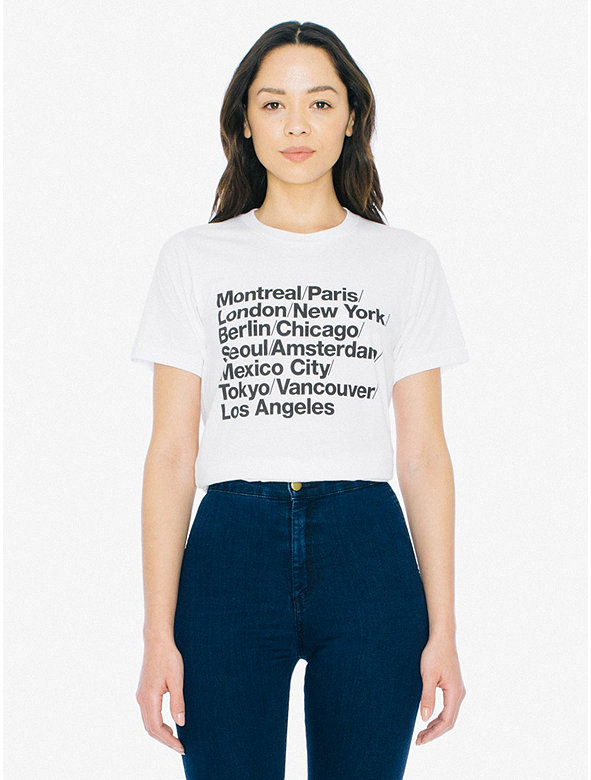 Unisex Cities Print 50/50 T-Shirt