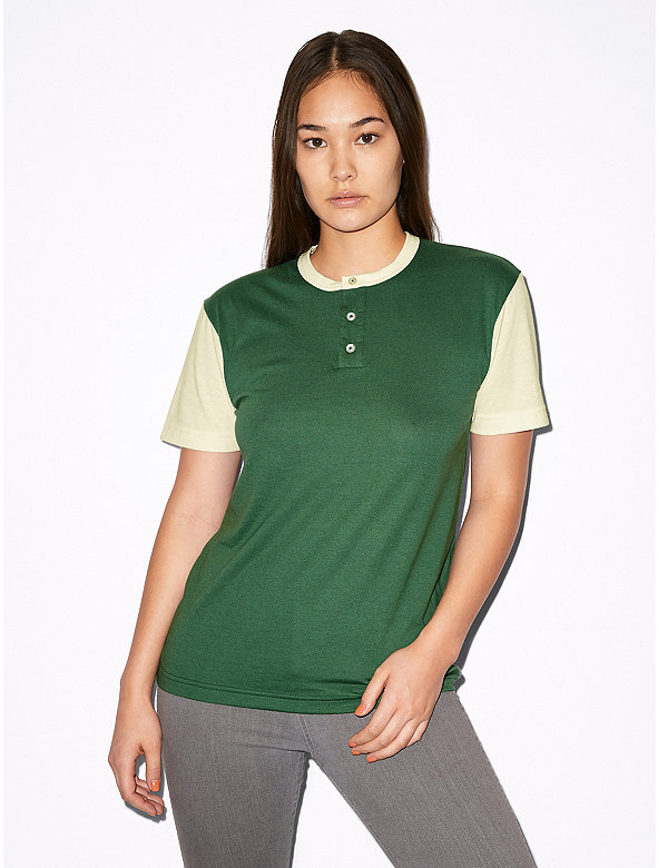 Unisex 50/50 Short Sleeve Colorblock Henley