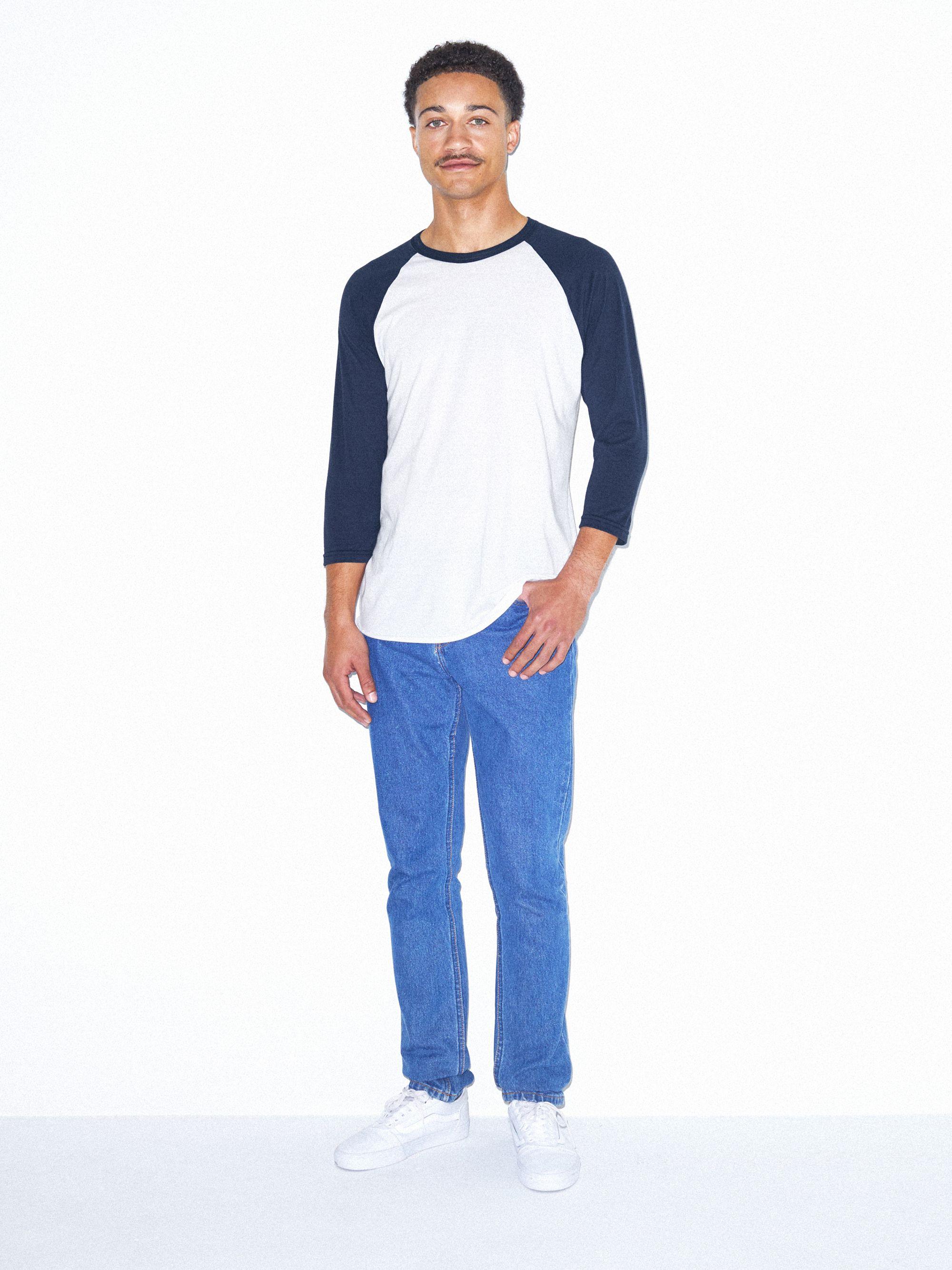 e07a06cbb Unisex 50/50 Raglan 3/4 Sleeve T-Shirt | American Apparel