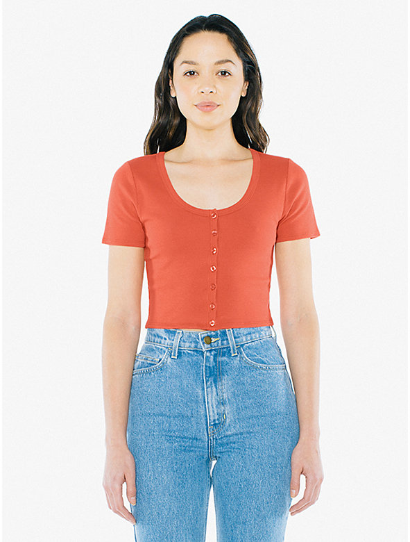 Cotton 2x2 Button Front Short Sleeve Crop Top