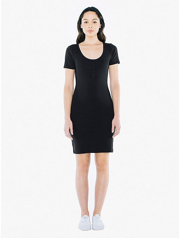 Cotton 2x2 Henley Dress