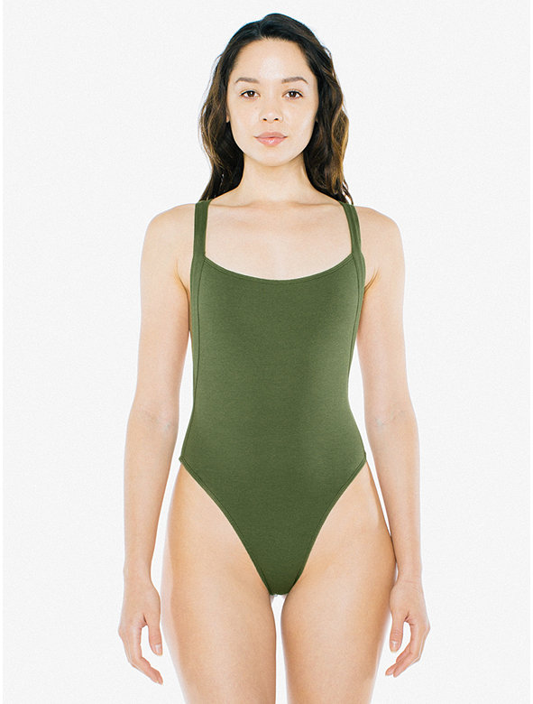 Cotton 2x2 Thick Strap Thong Bodysuit