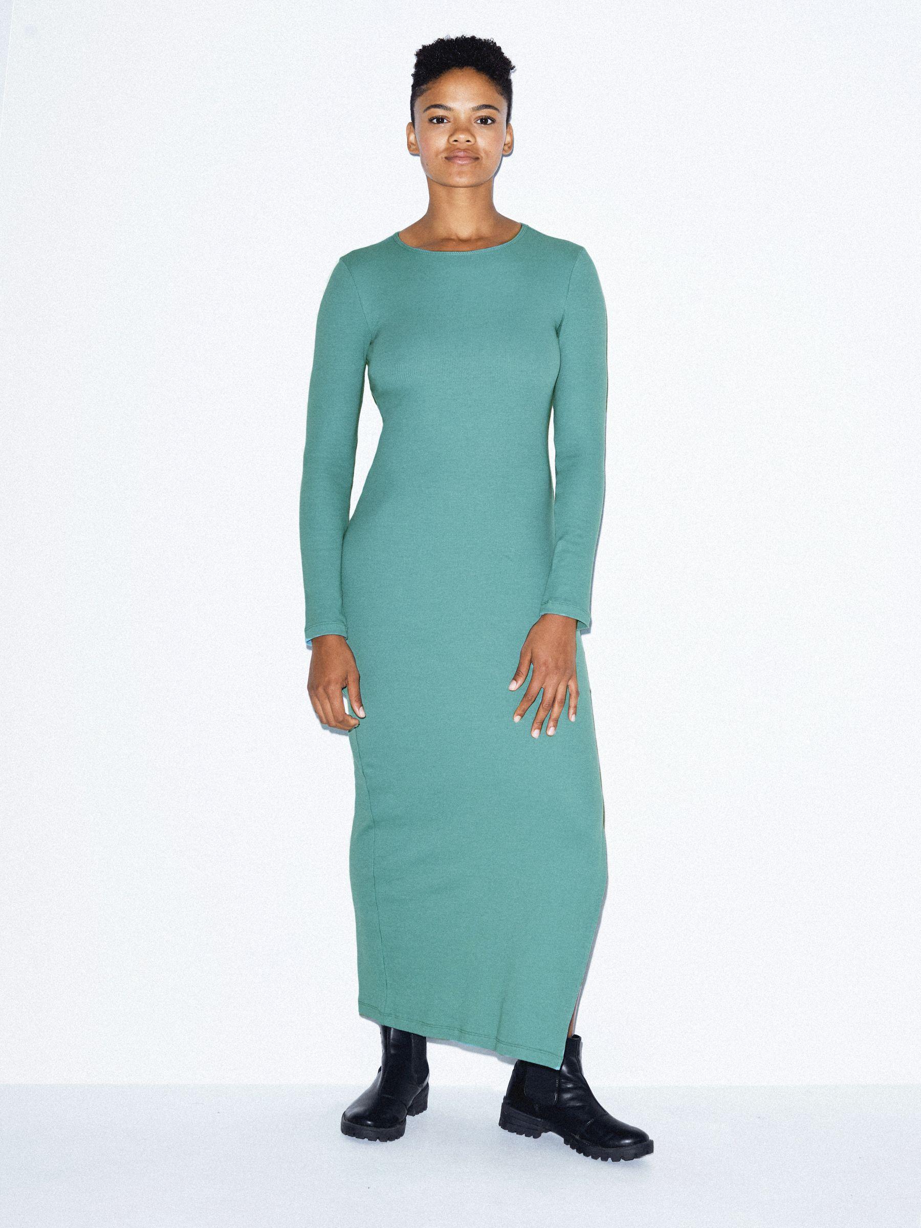 cotton-2x2-long-sleeve-crewneck-dress by american-apparel
