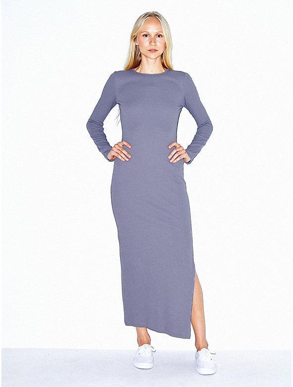 Cotton 2x2 Long Sleeve Crewneck Dress