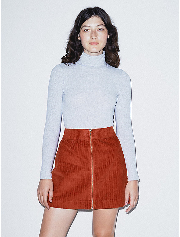 Corduroy Zip Skirt