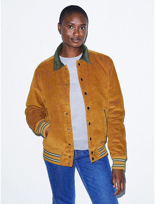 Unisex Corduroy Letterman Jacket