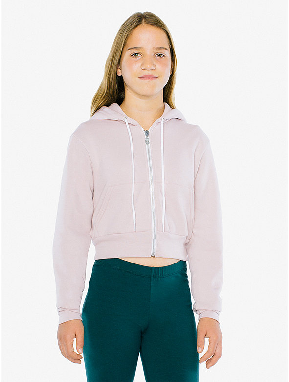 b724934e5d Kids' Flex Fleece Cropped Zip Hoodie | American Apparel