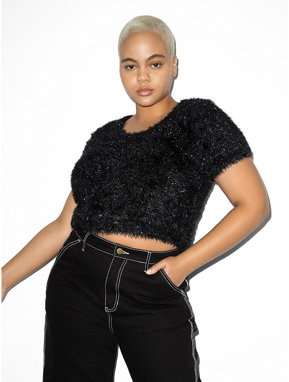 Tinsel Short Sleeve Crop Sweater