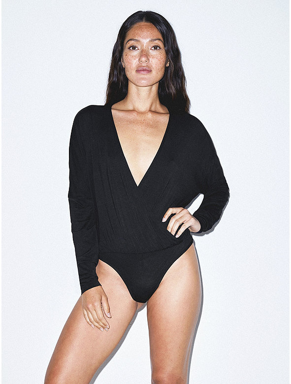 Mix Modal Long Sleeve Drape Bodysuit