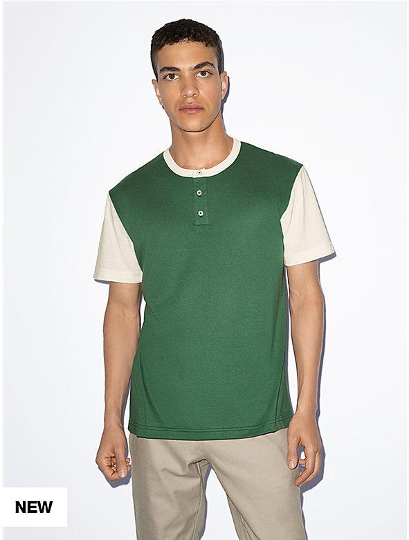 50/50 Short Sleeve Colorblock Henley