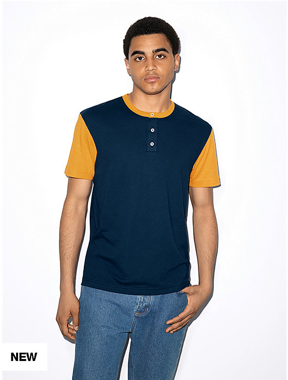 50/50 Short Sleeve Colorblock Henley