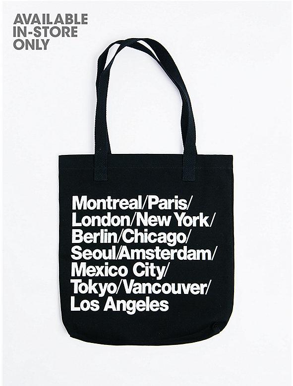 Cities Print Denim Tote