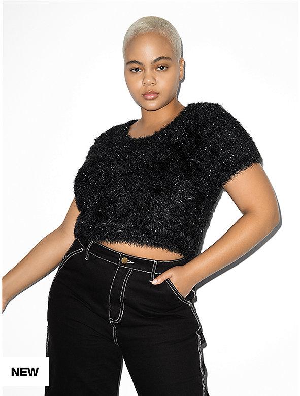 Tinsel Short Sleeve Crop Sweater