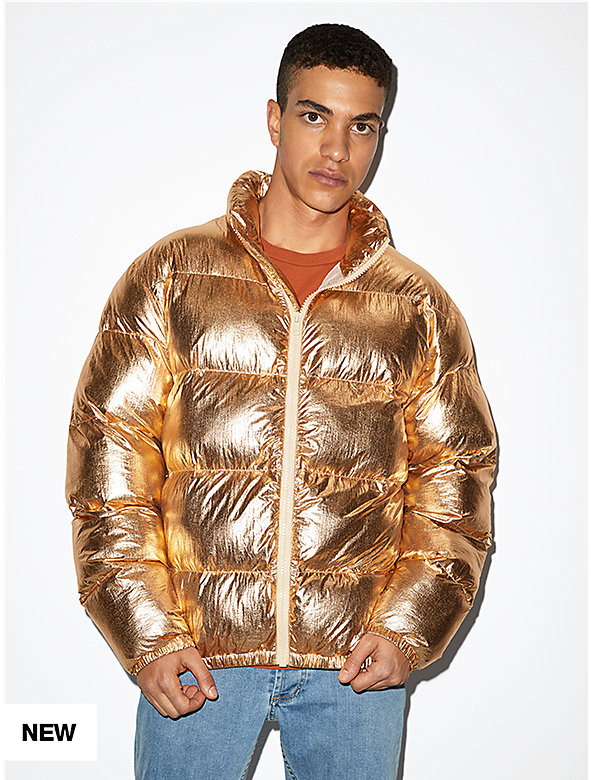 Metallic Crinkle Puffer Jacket