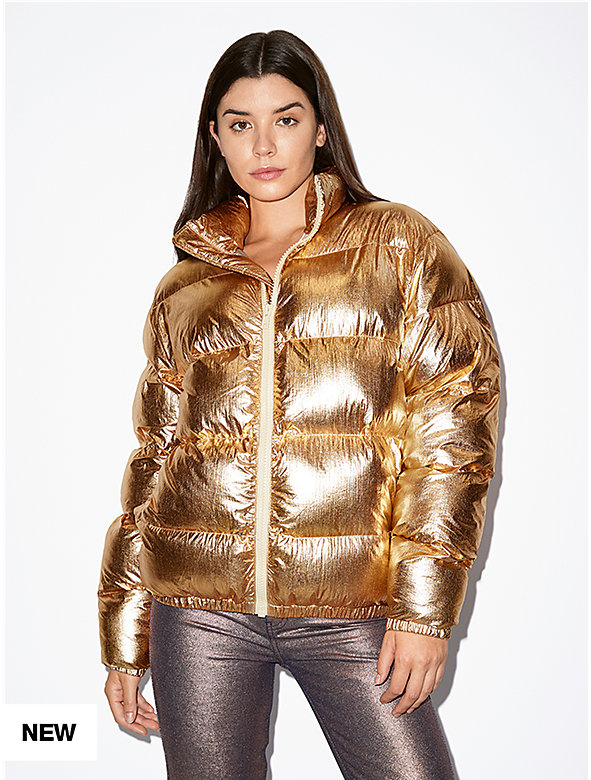 Unisex Metallic Crinkle Puffer Jacket
