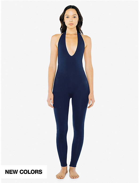 Cotton Spandex Halter Catsuit