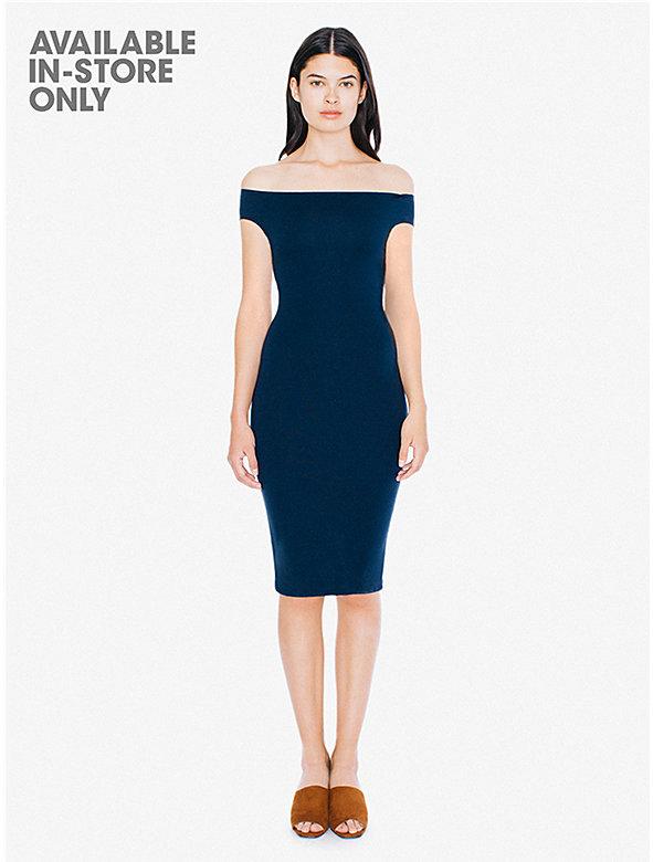 Ponte Off-Shoulder Crossback Pencil Midi Dress