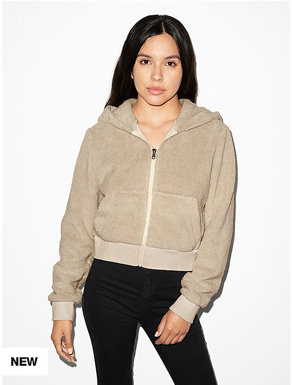Teddy Long Sleeve Crop Zip Hoodie