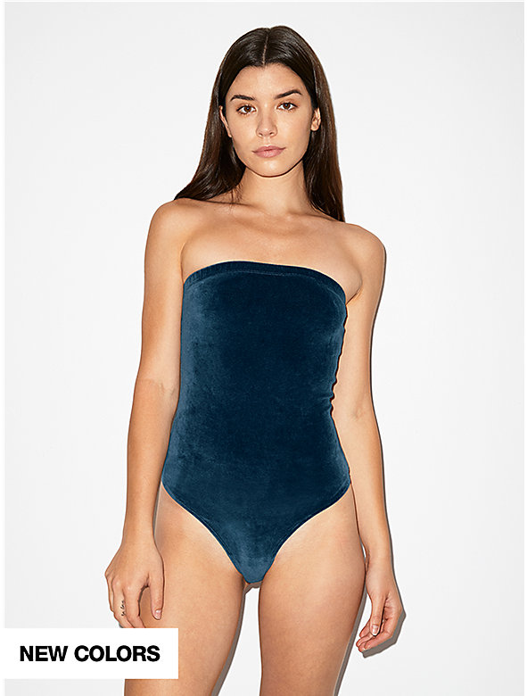 Stretch Velour Strapless Bodysuit