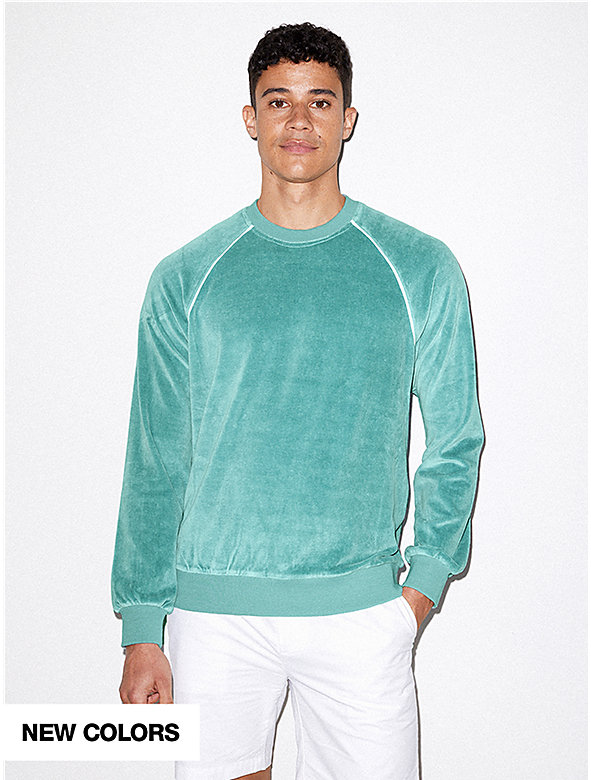 Stretch Velour Long Sleeve Raglan Crew