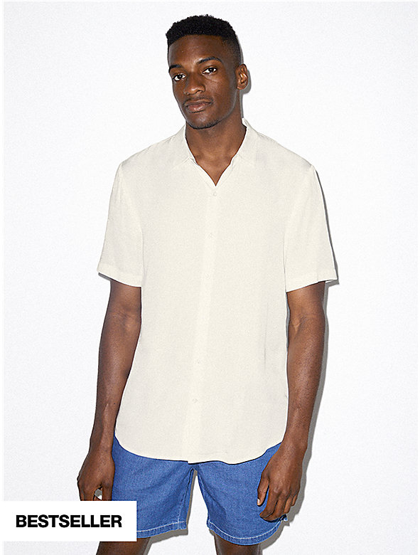 Viscose Short Sleeve Button Up Shirt