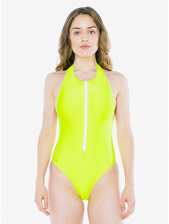 Nylon Tricot Zip Up One Piece