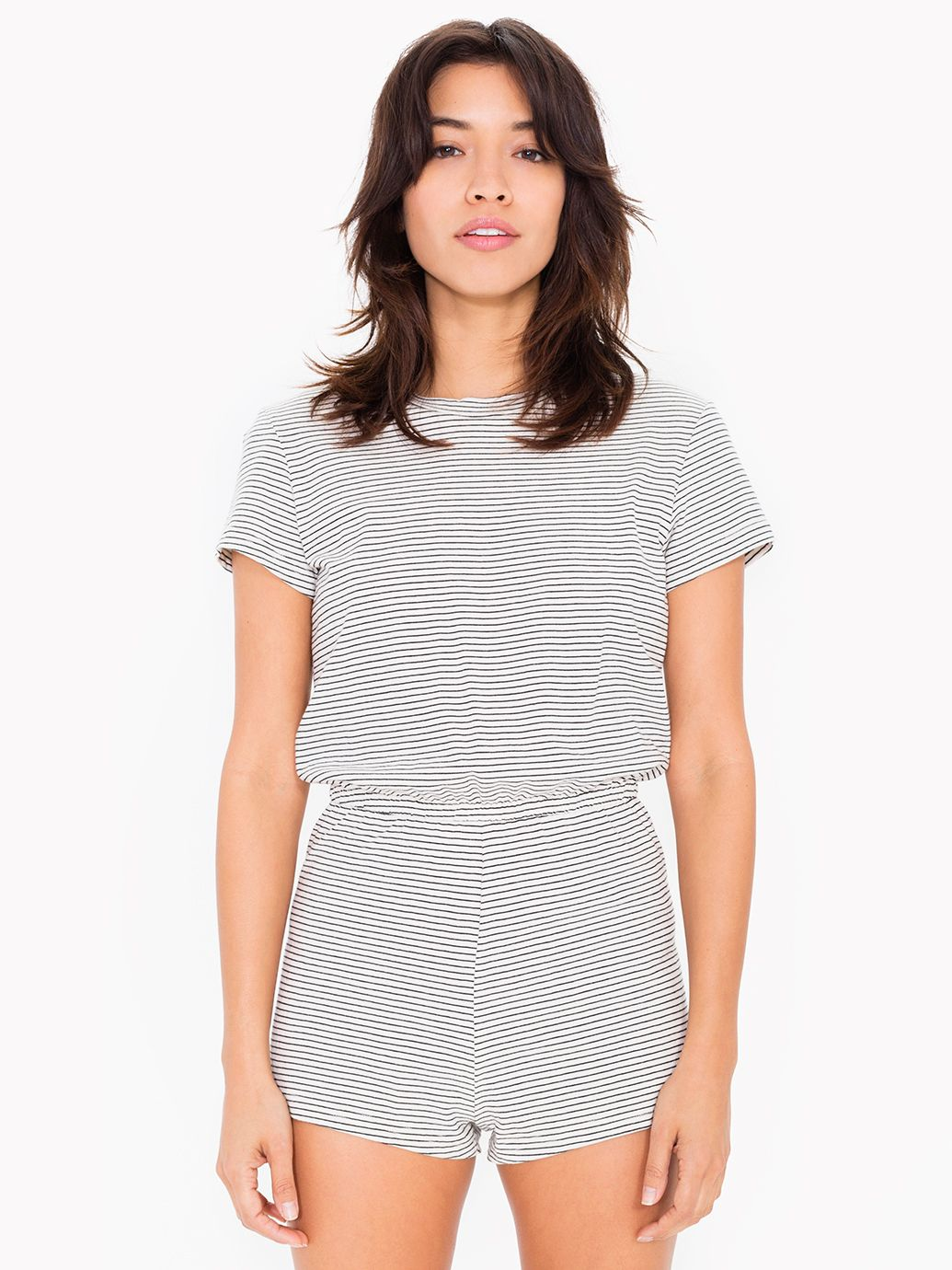 American Apparel Striped Jersey T-Shirt Romper