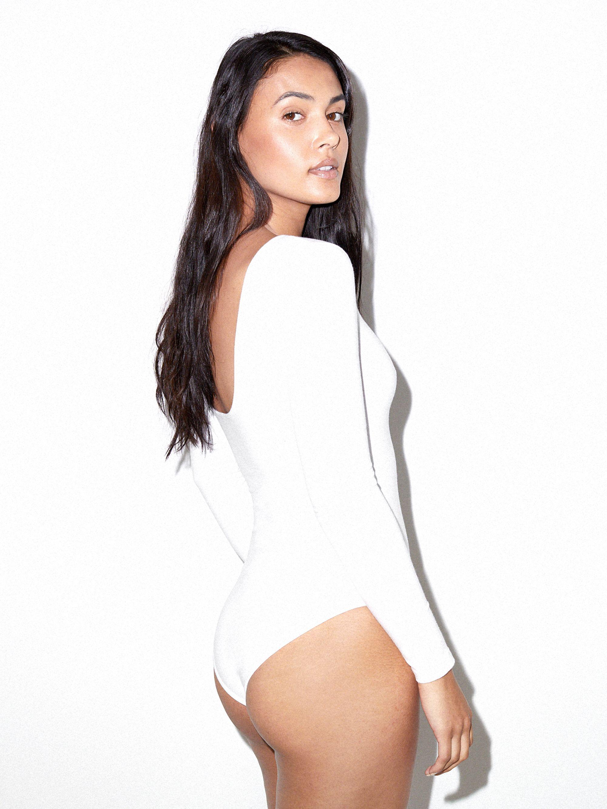 35116f9ecf31 Cotton Spandex Long Sleeve Scoop Back Bodysuit | American Apparel