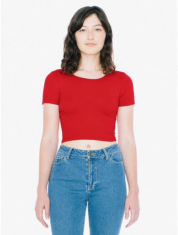 Cotton Spandex Jersey Crop T-Shirt
