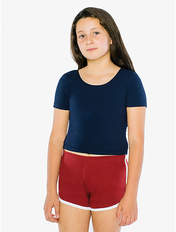 Kids' Cotton Spandex Jersey Crop T-Shirt