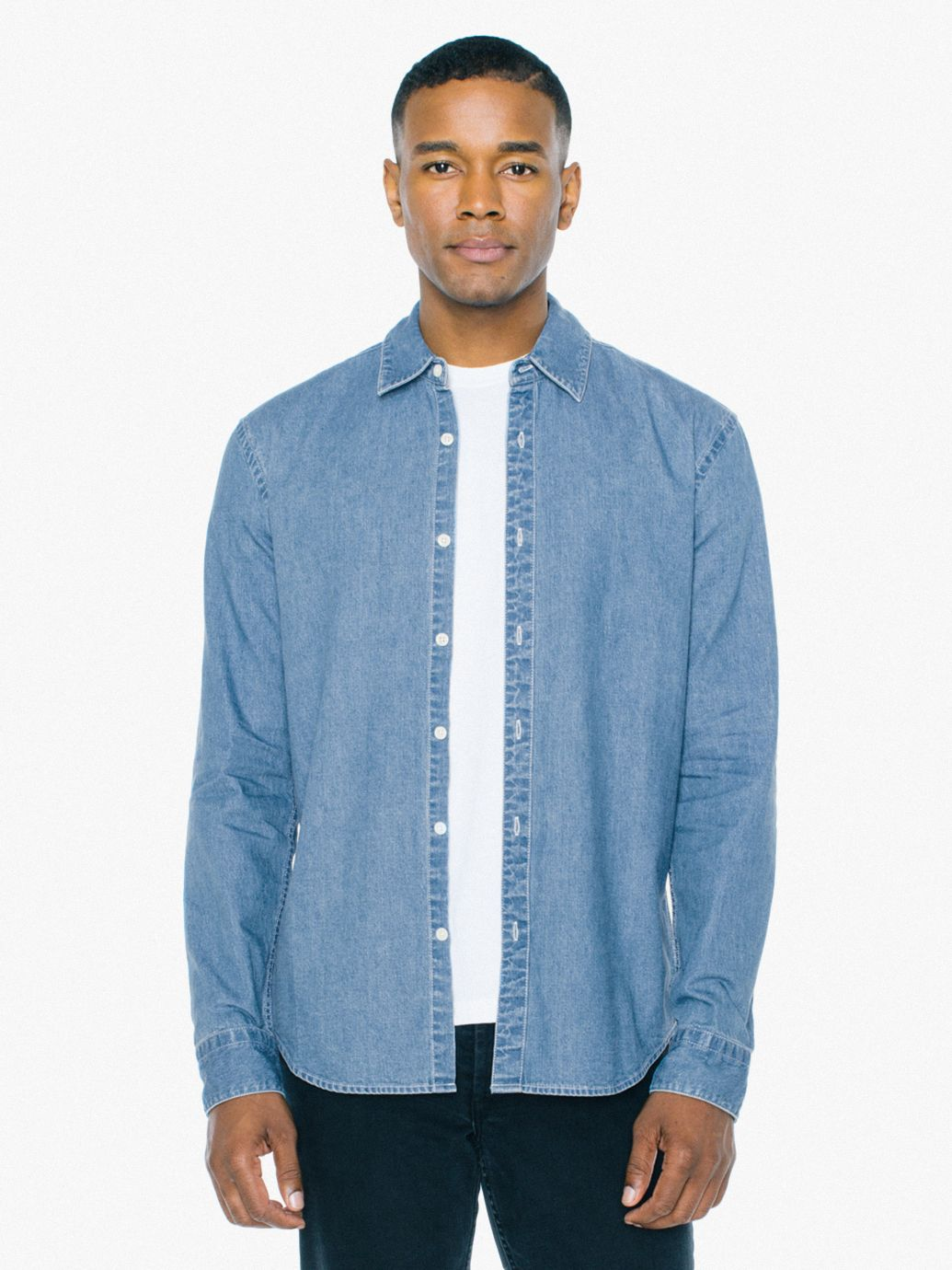 Denim Long Sleeve Shirt by American Apparel