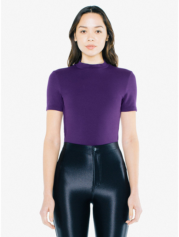 Ponte Mock Neck Short Sleeve Top