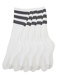 Stripe Calf-High White Sock (5-Pack)