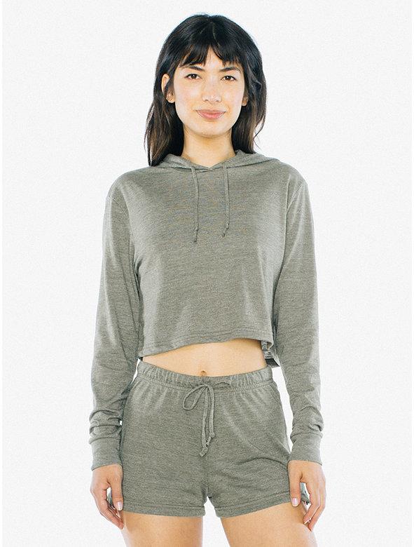 Tri-Blend Pullover Cropped Hoodie