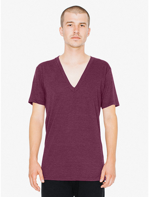 Tri-Blend Deep V-Neck T-Shirt
