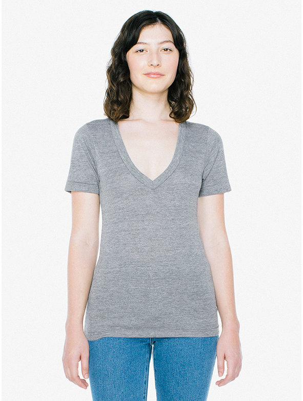 dc085a7825d8 Unisex Tri-Blend Deep V-Neck T-Shirt | American Apparel